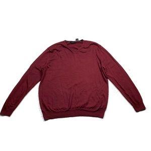 Calvin Klein V Neck Merino Wool Sweater Red